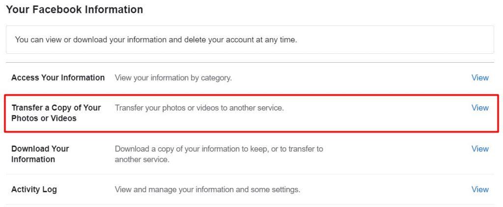 Transfer Facebook photos and videos to google photos